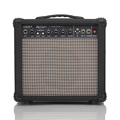 Leo Jaymz 20W Electric Guitar Amplifier - Both Clean and Distortion Channel - 3 Band Equalization and CD Line Input - Household, recording studio, practice room, small courtyard