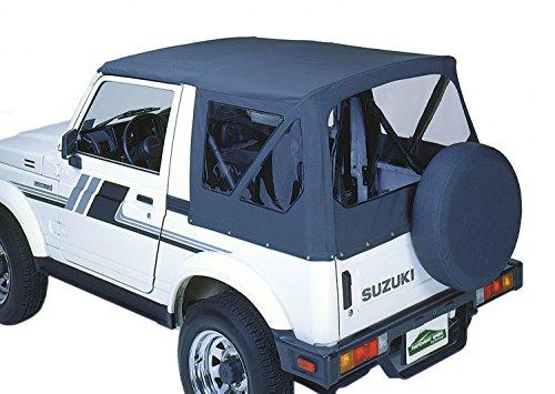 Pavement Ends by Bestop 51133-15 Black Denim Replay Ersatz Soft Top Clear Window No Door Skins Included for 1987-1995 Suzuki Samurai