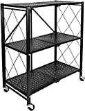 HealSmart 3-Tier Heavy Duty Foldable Metal Rack Storage Shelving Unit with Wheels Moving Easily Organizer Shelves Great for Garage Kitchen Holds up to 750 lbs Capacity, Black (HKSHLFFOLD28153403BV1)