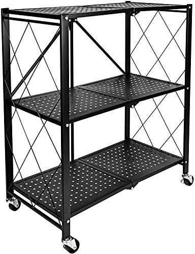 HealSmart 3-Tier Heavy Duty Foldable Metal Rack Storage Shelving Unit with Wheels Moving Easily Organizer Shelves Great for Garage Kitchen Holds up to 750 lbs Capacity Black HKSHLFFOLD28153403BV1