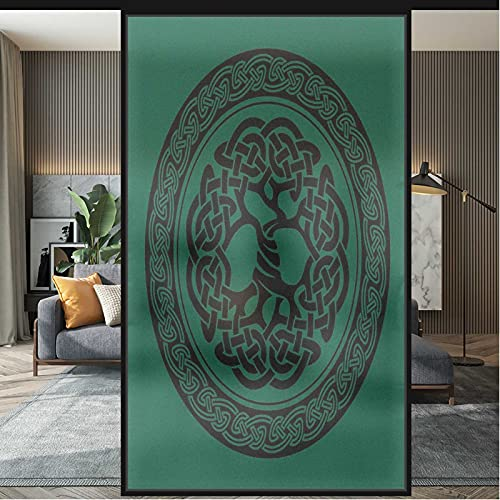 Stained Glass Window Film Celtic Non Adhesive for Privacy Office Glass Film Forest Green Black 35.4 x 78.7 in