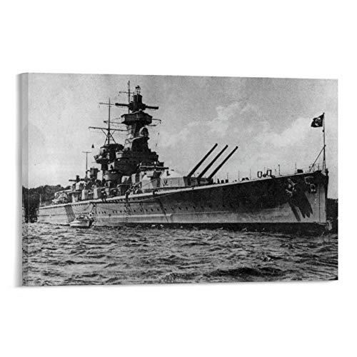 IEJDA Poster sur toile représentant un cruiser allemand de l'amiral Graf Spee Cruiser Dreadnought Destroyer - Décoration murale moderne pour chambre de famille - 50 x 75 cm