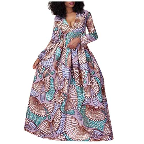 Allence Afrikanische Frauen Gedruckt Langarm V-Ausschnitt Boho Langes Kleid Strand Abend Party Maxi Rock