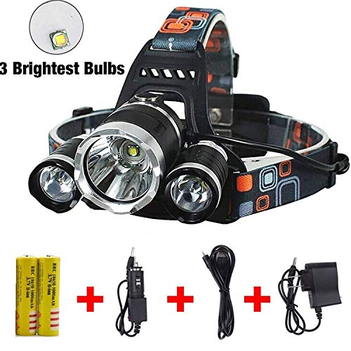 UVER Best Waterproof 10000 Lumen 3 Led Headlamp XML T6Head Lamp Powerful Led Headlight,18650 Rechargeable Batteries, Car Charger, Wall Charger and USB Cable
