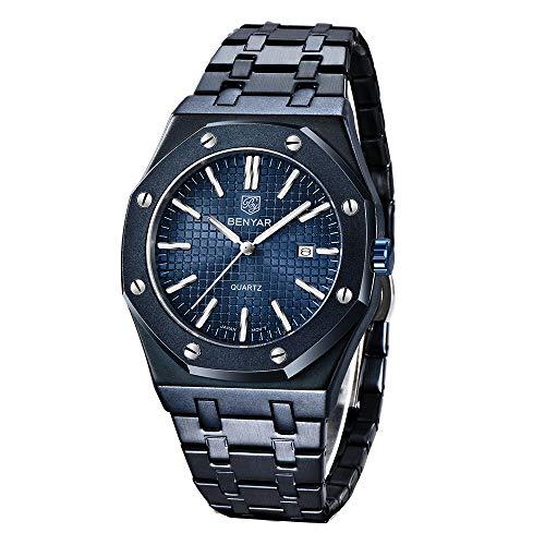 Marca de diseño Relojes Hombres Relojes mecánicos automáticos Azules Hombres 100M Impermeable Reloj de Negocios Informal Reloj Luminoso