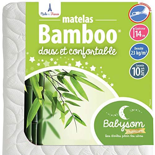 Babysom - Matelas Bébé Bamboo - 60x120 cm | Viscose au toucher Ultra Doux | Aéré et Absorbant | Sans Traitement Chimique | Épaisseur 14 cm | Déhoussable | Oeko-Tex® | Fabrication française