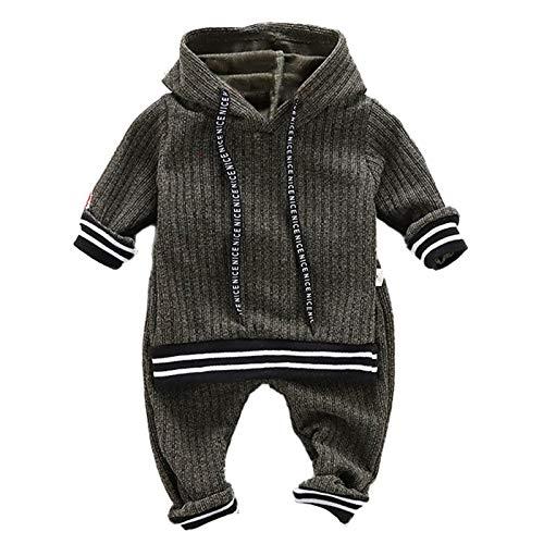 Aislor Baby Jungen Kleidung Set Langarm Shirt Kapuzen Hoodie Streifen Sportanzug mit Lange Hose mit Taschen Strickshirt Freizeitanzug Gr. 74-104 Grün 80-86