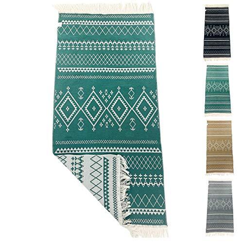 SOLTAKO Petit Kelim Tapis de couloir avec franges et motifs rétro, boho, ethnique, marocain, berbère, lavable, vintage (jade/écru) 135 x 65 cm