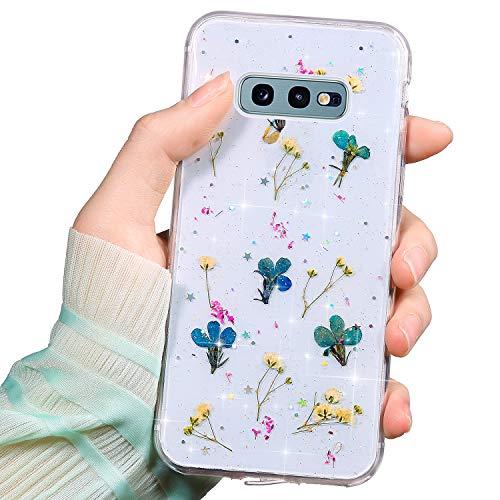 Coque Compatible avec Galaxy S10e Étui Transparente Silicone Souple TPU Ultra Mince Fleurs Séchées Vraie Fleur Brillant Bling Motif Protection Léger Case Choc Scratch Crystal Housse Bumper,Bleu