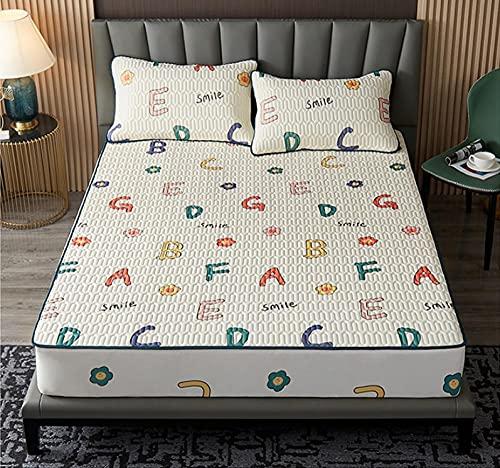 XLMHZP Funda de colchón de seda de látex natural puro y transpirable, cómoda funda de almohada estilo cama acolchada funda de colchón Queen Bedding-F_120 x 200 cm (2 unidades)