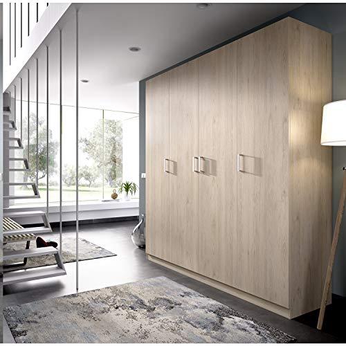 HABITMOBEL Armario ropero de Cuatro Puertas, Oficina o almacenaje Natural, Medidas 200 cm (Largo) x 215 cm (Alto) x 52 cm (Fondo)