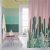 Qinunipoto Cactus Saguaro Shower Curtain Pink Background Green Tropical Plants Cacti Flower Cartoon Bath Curtain for Teens Girl Boy Kid Hotel Home Bathroom Decor Bathtub Waterproof Polyester 60x72inch