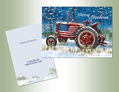 PERFORMING ARTS BOXED CHRISTMAS CARD SET Patriotic Tractor Set of 18 cards with full color inside designs/18 envelopes (1 design per box), 52801
