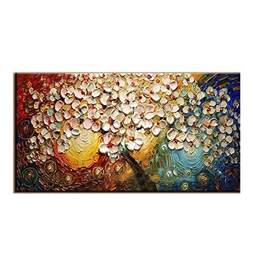 Muurschildering op canvas met de hand beschilderd Wall Art Modern acryl bloemen pallets messen olieverfschilderij voor huis decoratieve sets 70x140cm