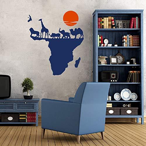 Geiqianjiumai Kunst Wandtattoo Weltkarte Tier Natur Afrika Dekoration Wandaufkleber Wohnzimmer Dekoration Wandmalerei Blau 66x76cm