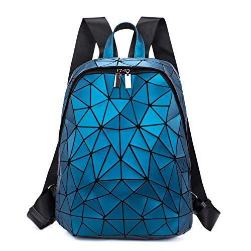 FZChenrry Geometrische Tasche Geometrischer Rucksack Damen Leuchtender Holographic Rucksäcke Reflektierend Festival Beutel Blau