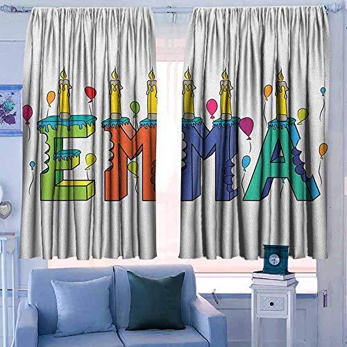 Lovii waterdichte venster gordijn verduisteringsgordijnen voor slaapkamer Emily enorm populair naam in het Engels met pop cartoon elementen persoonlijke paars fuchsia en lichtgeel