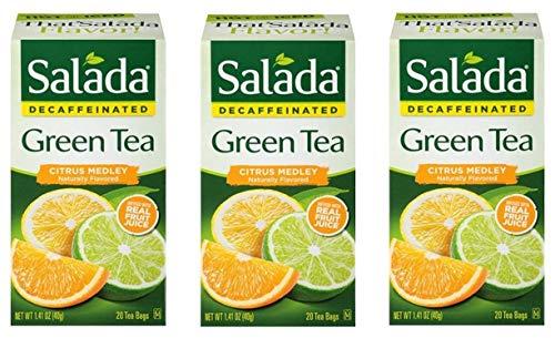 Salada Decaffeinated Green Tea Citrus Medley - 20 Tea Bags (Pack of 3) - 60 Bags Total