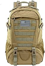Tactical Backpack for Men Molle Military Rucksack Pack Waterproof Daypack 30L with USA Flag Patch