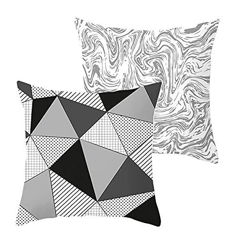 LOYYE Pack de 2 Fundas de Cojines Triángulo Funda de Almohada Cuadrado Terciopelo Suave con Cremallera Invisible para Sofá Coche Decor para Hogar Throw Pillow Case Regalo J360 Pillowcase+Core_50x50cm