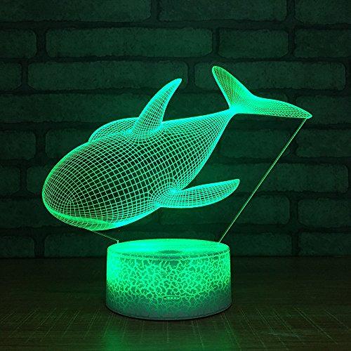 3D schattige walvis optische illusie lampen leuke 7 kleuren wisselende tabel bureau-nachtlampje met USB-kabel voor slaapkamer huis decoratie verjaardag Kerstmis cadeau