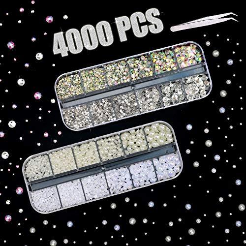 4000 Stücke Strasssteine & Perlen für Nägel, Nailart Kristall AB Glas- Strass Steinchen und Perlen Glanz und Glitzern in 2 3 4 5 6 mm mit Pickup-Pinzette für Mädchen DIY Basteln Make-up Zubehör