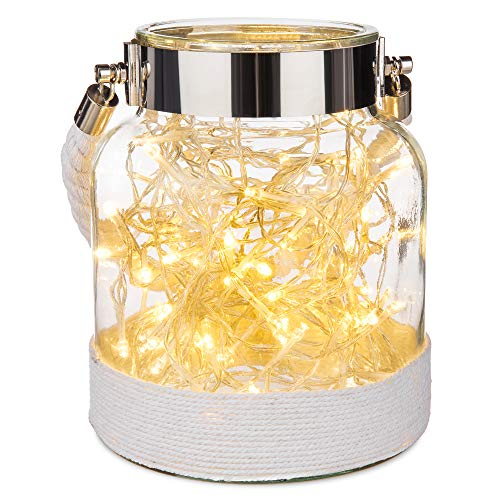 LIVIVO Stunning Vintage Glass Hurricane Candle Lantern Light Jar With Weaving Jute Rope – Perfect Indoor Outdoor Garden Decoration Living Room Home Office (White)