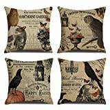 RUOAR Pack of 4 Vintage Halloween Throw Pillow Covers for Owl/Crow/Pumpkin/Skull Throw Pillow Covers Halloween Cushion Covers 18 x 18 inch