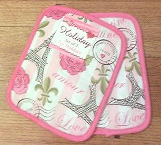 2-pc Potholders Pot Holders Valentine Eilffel Tower Stamps Love Amour Rose Fleur-De Lis