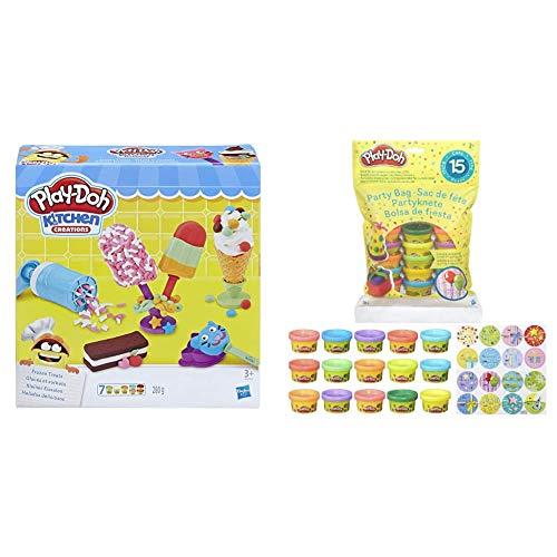 Hasbro Play-Doh- Play-Doh Gelati E Ghiaccioli, Multicolore, E0042Eu4 & Play-Doh Pack di Vaso, Multicolore, 15 Vasetti, 18367Eu4