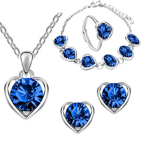 THESHYER Love fashion collar de cristal de gama alta aretes pulseras anillo novias ocho piezas románticas damas dulces en forma de corazón accesorios de joyería de piedras preciosas