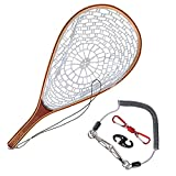 Goture Fly Fishing Landing Net Trout Catch and Release - Wooden Frame with Soft Rubber Mesh Lightweight