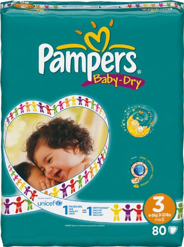 Pampers Baby Dry, 3+ 3+ 80pieza(s) - Pañal (3+, Disposable diaper, 3+)