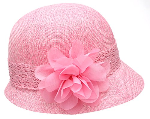 Women's Gatsby Linen Cloche Hat With Lace Band And Flower - Pink