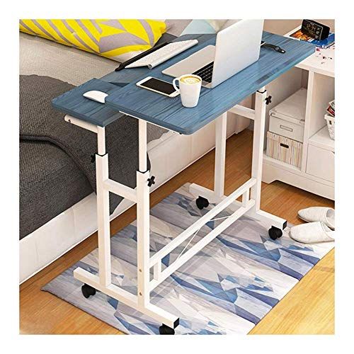 GCP Table above the bed Table above the mobile bed, table above the Days bed, adjustable workstation with wheels for the home office (color: pine blue, size: 80x58cm)
