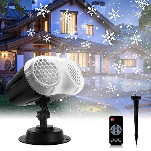 ROVLAK Projecteur Lumiere Noël LED Projecteur de Flocon de Neige Blanche Lampe Projecteur Exterieur Intérieur avec Télécommande IP65 Imperméable Neige Paysage Lumière pour Halloween Noël Décorer Fête