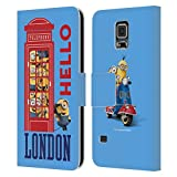 Head Case Designs Officially Licensed Minions Telephone Booth Minion British Invasion Leather Book Wallet Case Cover Compatible with Samsung Galaxy S5 / S5 Neo