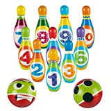 Reimotkon Mini Bowling Set with 10 Bowling Pins 2 Bowling Ball, Bowling Game Set for Indoor or Outdoors Family Games, Children Early Education Bowling Games for Kids and Adults (199G)