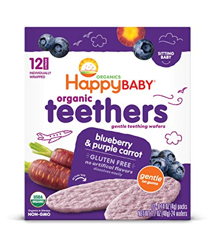 Happy Baby Organics Teether, Blueberry & Purple Carrot, 12 Count (Pack of 6)