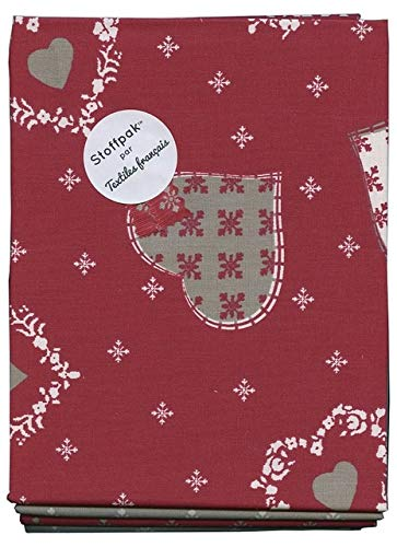 Textiles français Stoffpak Natalizio - Confezione di 4 pezze - Tessuti Natalizi (Rosso, Ecru e Taupe) | 100% Puro Cotone | 80 x 80 cm