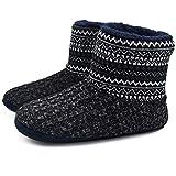 KuaiLu - Pantofole da uomo in lana artificiale, calde, per interni ed esterni, antiscivolo, Nero (Tutto nero), 43 EU