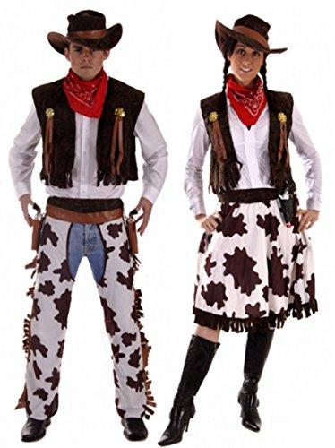 Fancy Me Coppia Costume da Cowboy & Cowgirl Woddy & Jessie Wild West Costume Vestito Grande & Normal Dimensioni. Multicolore