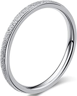 Womens 2mm Stainless Steel Sand Blast Finish Silver Wedding Band Engagement White Gold Domed Ring