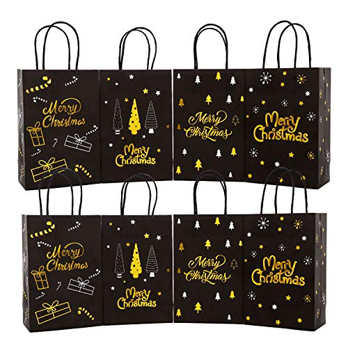 VEYLIN 24Pack Christmas Paper Bags, Luxurious Black Gold Xmas Bags with Handle for Wrapping Gifts