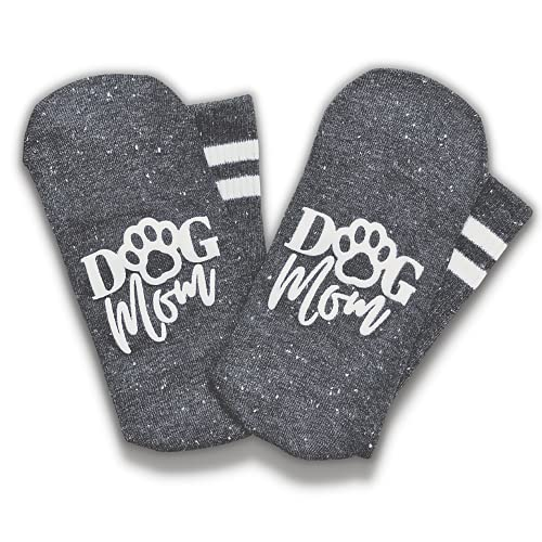 Boutique Dog Mom Crew Socks for Women - Soft Fuzzy No Slip Grip Soles - Fun Novelty Wife, Grandma, or Girl Birthday Gift or Christmas Present Stocking Stuffer - Sock Gifts for Best Friend - Charcoal