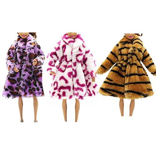 3 piezas multicolor estampado de leopardo de manga larga abrigo de piel...