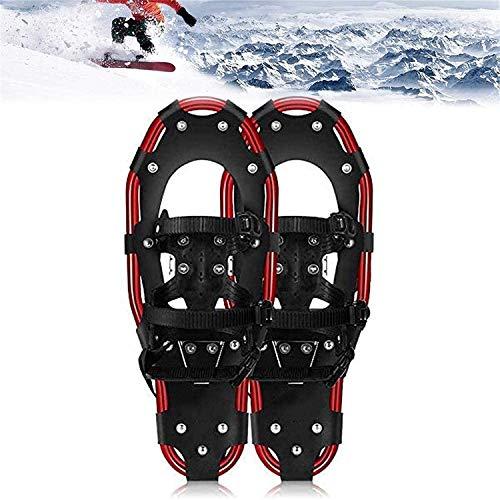 22 pulgadas de nieve, zapatos de nieve unisex, zapatos de aleación de aleación de aluminio de peso ligero con raquetas de nieve Zapatos de nieve con postes de trekking y cartaje de pata deportes,Rojo