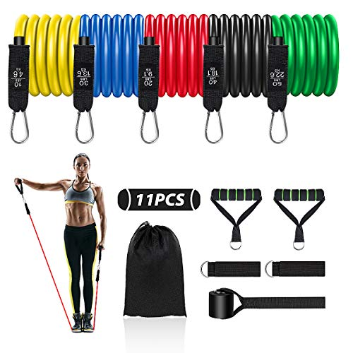 Resistance Bands Set, 11 Pack Fitnessband Stapelbar Fitnessbänder Set Widerstandsbänder, Indoor/Outdoor Workout Bands mit Türanker & Griffen für Fitness, Yoga, Heim-Fitnessgeräte für Männer/Frauen