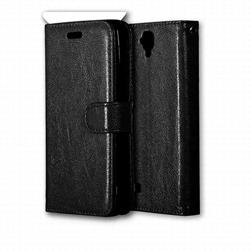 Ougger Handyhülle für Huawei Y560 / Huawei Y5 Hülle Tasche, Beutel Tasche Bumper Schale Schutzhülle PU Leder Weich Magnetisch Stehen Silikon Haut Flip Case Cover mit Kartenslot Farbe Schwarz