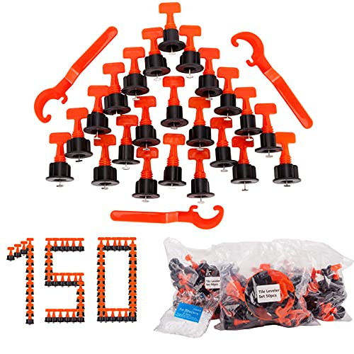 150pcs 1/16 Inch Tile Leveler Spacers and 500pcs 1/12 Inch Tile Spacers, Reusable Tile Leveling System Kit with 3pcs Special Wrench, Tile Installation Tool Kit for Building Walls & Floors